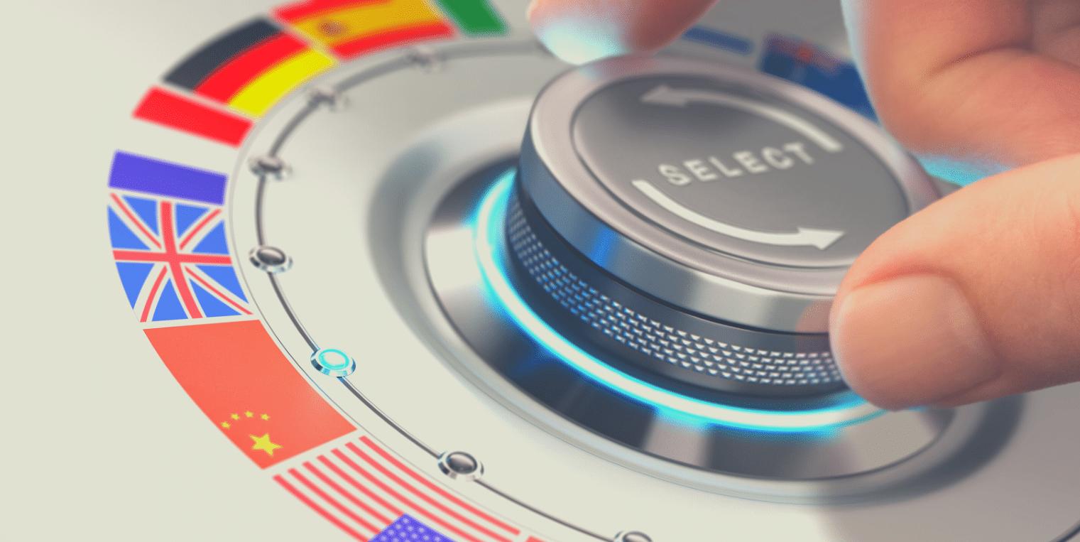 bouton avec des drapeaux du monde